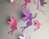 8 Paper Fairy Wall Art, 3d Fairy Wall Decal, Whimsical Room Decor, Fairies, Paper Faires, Nursery Wall Art, Little Girl Room Decor
