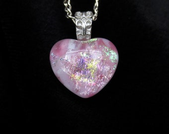 Pink Heart Dichroic Opal Glass Pendant With Figaro Silver Plate Chain