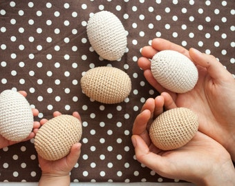 Crochet Wooden Eggs - Neutral Montessori Wooden Toys, Waldorf Toy - Kangaroo Care - set of 6
