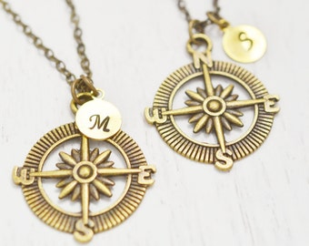 personalized compass necklace, nautical compass anchor, bff, graduation gift, navigator gift, couples necklace, long distance relationship