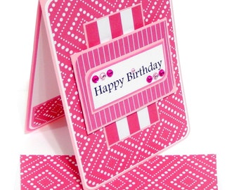 Happy Birthday Card with Matching Embellished Envelope- Pink Stripes and Polka Dots