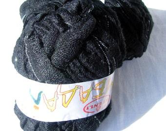 Ruffle yarn, lambada lame, flamenco, can can, fantasy, sashy. Black. Ribbon mesh yarn with metal thread. Glitter silver thread yarn. SALE.