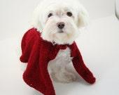 DIGITAL PATTERN:Knit Dog Cape Pattern,Little Red Riding Hood Pattern,Knit Dog Clothes Pattern,Knit Dog Sweater Pattern,Small Dog Sweater