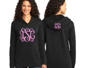 Monogrammed Sweatshirt - Personalized Hoodie - Women's French Terry - Front and Hood Monogram