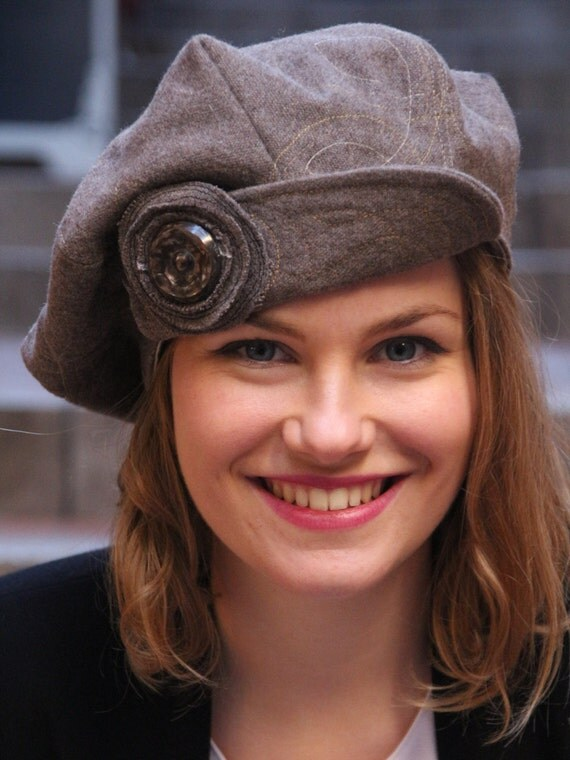 Unique Brown Newsboy Beret Hat Brown Woolen Fabric Hat