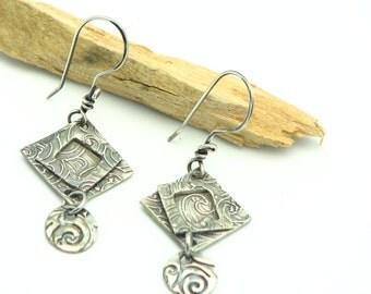 Silver Square Dangle Earrings Geometric Shaped Contemporary Modern Handmade Jewelry Metal Work Jewelry Minimalist Hand Stamped