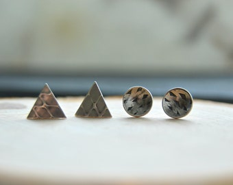 Tribal silver studs, triangle studs, round studs, small stud earrings, set of two
