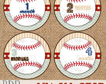 """Baseball Lil' All-Star Monthly Onesize Stickers - 4"""" diameter - INSTANT DOWNLOAD"""