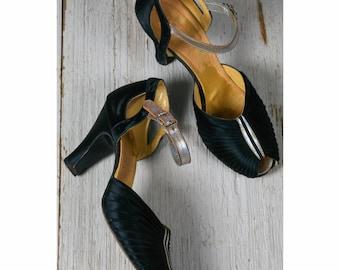 1930s heels/ 30 black satin dancing heels/ size 6