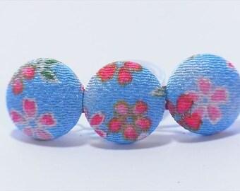 Kimono  Hair barrette Japanese chirimen fabric,cherryblossom Light Blue floral