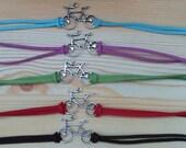 Bicycle cuff,bicycle bracelet, suede bracelet, bike cuff, bike bracelet, suede cord bracelet, blue bracelet, sports bracelet, cycle cuff