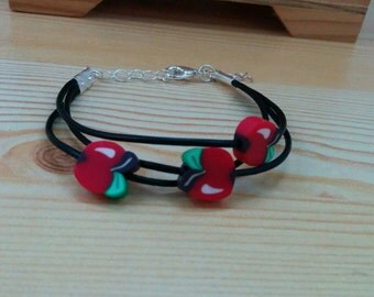 Apples cuff, leather cuff, apples bracelet,fruit cuff,leather bracelet, leather cuff,fruit bracelet,black leather,apples jewel