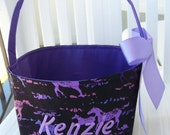 Fabric Easter Basket - Purple and Pink Horses on Black, Michael Miller Fabric - Personalization Included - Great Storage Bin