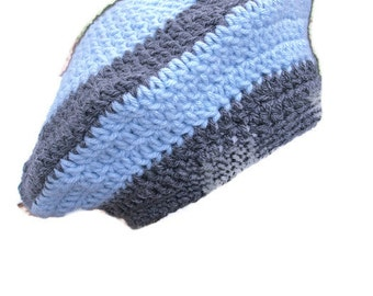 Crochet Slouchy Beanie Baby Blue and Grey Tam Slouchy Hand Crocheted   Ready to ship