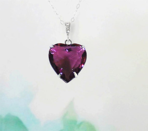 18th Birthday Cz T Bar Sterling Silver Heart Bracelet Can: Amethyst Purple Heart Necklace Vintage 1950's By