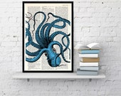 Turquoise Octopus Print ,Dictionary art, wall art octopus decor, art print,Wall decor ctopus print, Wall octopus art, Octopus blue BPSL061b