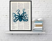 Art Print Electric blue Octopus II on Vintage Dictionary Book page. Wall art sea life print. Wall decor blue octopus. Octopus art BPSL084
