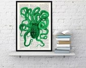 Octopus Art , Green  Octopus Print on Vintage Dictionary Book page. Wall art octopus print, wall decor, octopus print. Giclee print BPSL03