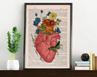 Summer Sale Pink Floral Heart human Anatomy Print on dictionary page Love gift  Anatomy art, love wall art, science anatomy SKA088