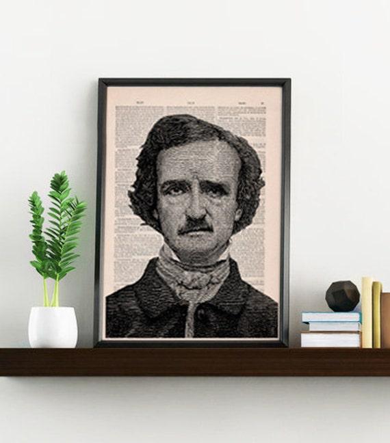 Art print Edgar Allan Poe Portrait illustration, Dictionary art print, art decoration, Poe art print, Gothic art, american horror BPTV055
