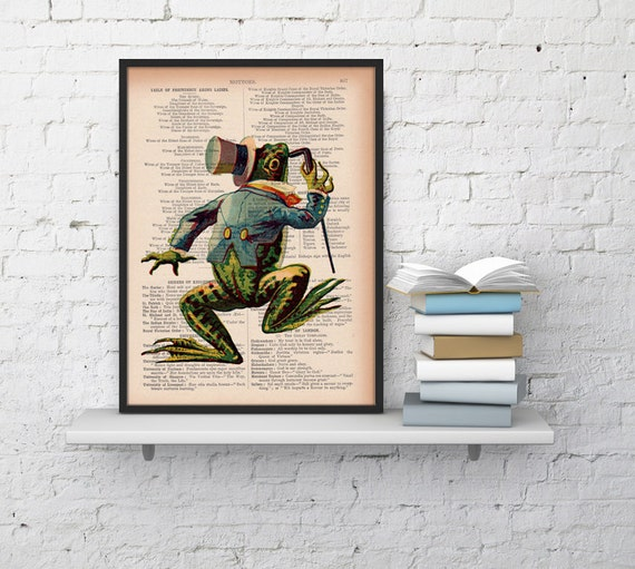 Vintage frog on Dictionary Book Print  Altered art on upcycled book pages ANI177