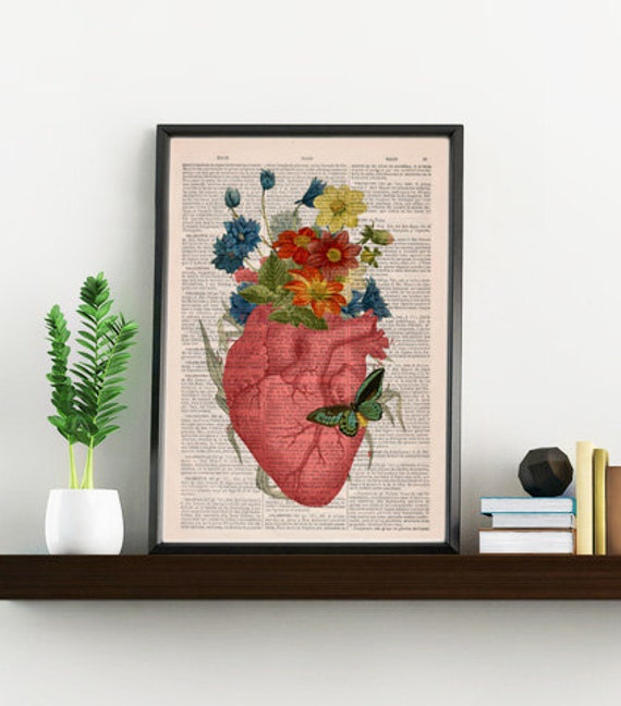 Pink Floral Heart human Anatomy Print on dictionary page Love gift  Anatomy art, love wall art, science anatomy SKA088