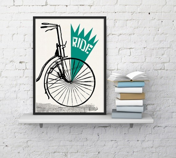 Ride a Bike poster - White paper print  - Ride bike collage- boyfriend gift wall art TVH229WA4