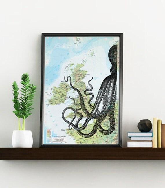 Decorative art original Map, half octopus Print over original map Print on vintage original map, octopus art over map, Old map print BPSL081
