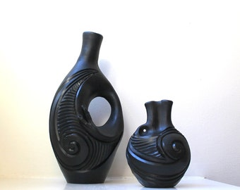 Mid Century Black Vases Rare Abstract Modern Asymmetrical Sculptural Black on Black