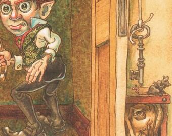 fantasy art print poster Victorian steampunk original goblin illustration elf whimsical