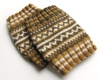 Hand Knitted Patterned Fair Isle Boot Cuffs - Boot Toppers, Leg Warmers - 100% Natural Wool - Cozy Gift