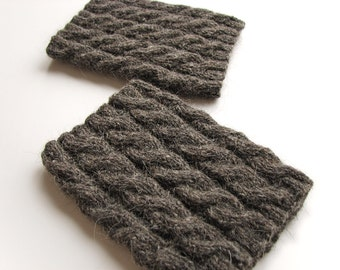 Hand Knitted Braided Cable Dark Gray Boot Cuffs - Boot Toppers, Leg Warmers - Natural Organic Undyed Wool