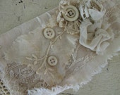 Tattered French Linen Bridal Cuff