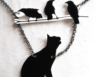 Halloween Necklace Bird and Black Cat Animal Necklace Branch Twig Statement Lucky Pet Lover Silhouette