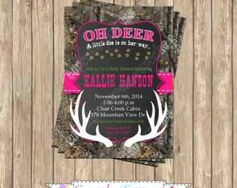 Camo Girl baby shower deer Hunting camouflage Birthday Party  PRINTABLE Invitation 5x7  Hot pink realtree chalkboard