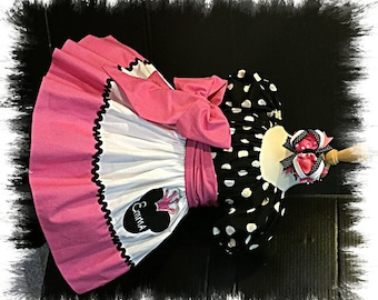 Custom Made Minnie Mouse Dress Embroidered Pink Crown Princess Applique Name Birthday Party Polka dot 12M 18M 24M 2T 3T 4 5 6