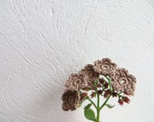 Crochet Flower Appliques, Tiny Small Cute Flowers, Decorative Motifs, Cafe Latte, Cacao Brown, Embellishments, Morning Coffee With Milk