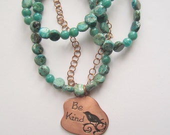Copper and Amazonite Necklace . Bird Pendant Necklace . Rustic Necklace . Stone Statement Necklace ./. Made in Sweden ./. Statement Jewelry