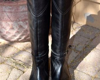 FRYE Dorado Blk Equestrian Designer Tall Riding BOOTS 7 or 7 1/2