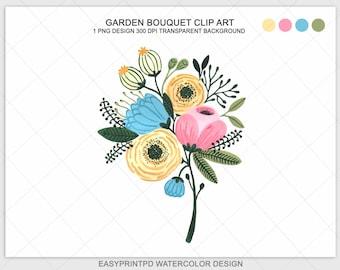 Floral Clip Art, Flower Clip Art, Flower Clipart, Watercolor Instant Download Clip Art, Flower Bouquet Wedding Clip Art, Commercial Use Art