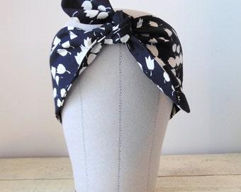 Floral Headband, Wide Fabric Headband, Black Headscarf, Tie Up Headband, Adjustable Headband, Knotted Headband, Black Headband- TULIPS