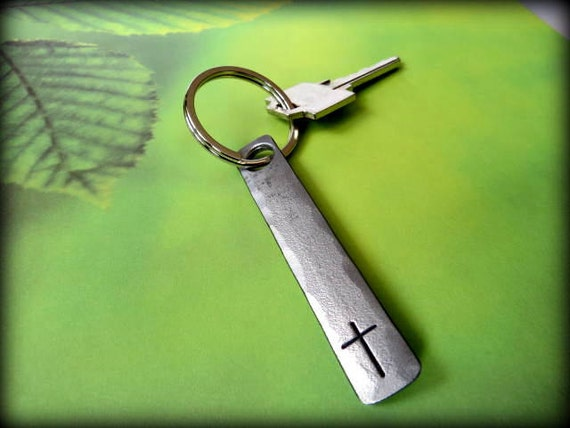 CROSS KEYCHAIN - Personalization Option Available - Hand Forged & Signed by Blacksmith Naz - Christian - Personalized Gift