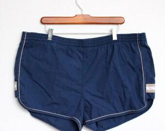 Navy Blue Geometric Striped Islander Swimming Trunks Mens Extra Large XL 42 44 Plus Size Vintage 80s Bathing Suit Tan SALE