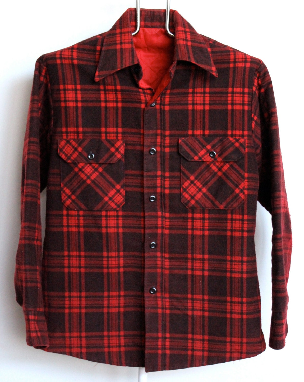 red plaid quilted flannel shirt jacket mens medium large lined