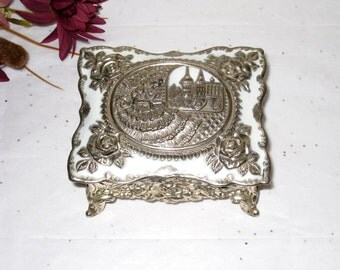 Footed Jewelry Box / Heavy Cast Metal With White Enameled Hinged Lid / Ornate Floral Design / Repousse Lady & Roses