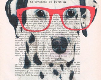 Dalmatian with Spectacles, Animal Painting, Decorative Art, Dalmatian Print, Dalmatian Painting, Kids Room, Bubblegum, Dalmatian Poster