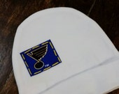 St. Louis Blues Hockey newborn beanie, Blues note hat for newborn, coming home outfit, layette beanie hat, STL Blues cap for a newborn
