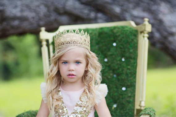 Gold Lace Crown || Heavenly || princess vintage gold lace crown|| full size ||  photography prop|| WASHABLE