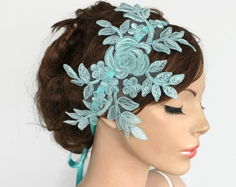 Lace Bridal Headband,Turquoise Robins Egg Blue Beaded Hair Accessory Fascinator, Classic Romantic Wedding Headpiece, Venetian Lace Applique