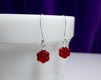 Red Flower Drop Earrings, Valentines Mothers Day, Mom Sister Aunt Grandmother Jewelry Gift, Simple, Pretty